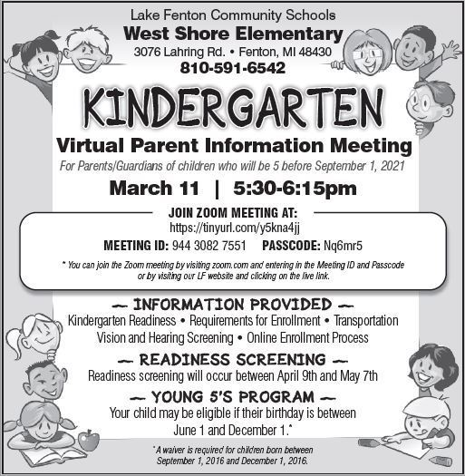Kindergarten Virtual Parent Information Meeting