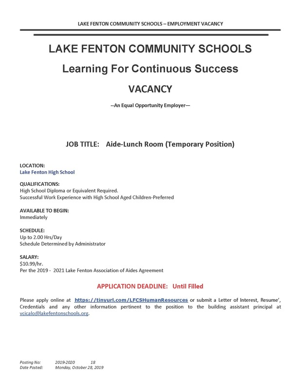 Employment Opportunity-Lunchroom Aide