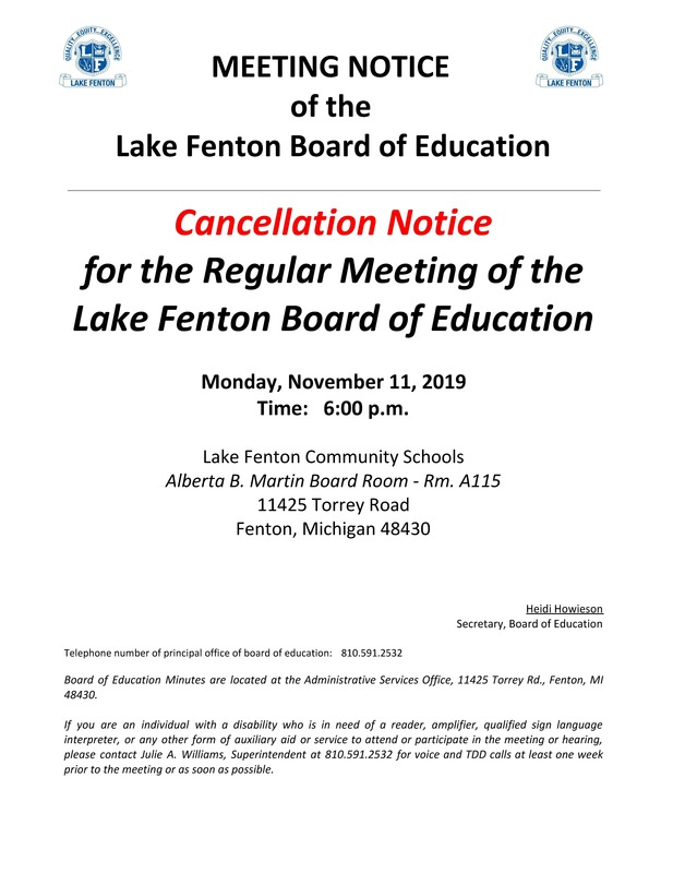 Cancellation of Regular Board of Education Meeting